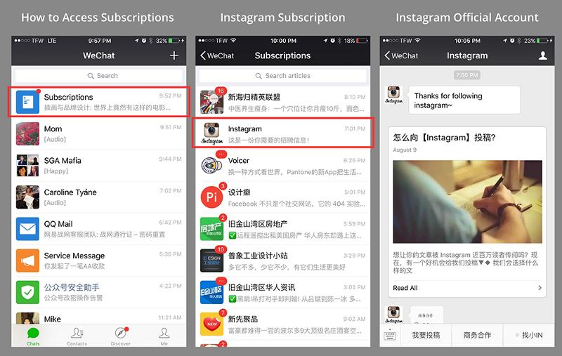 subscripitions trong wechat